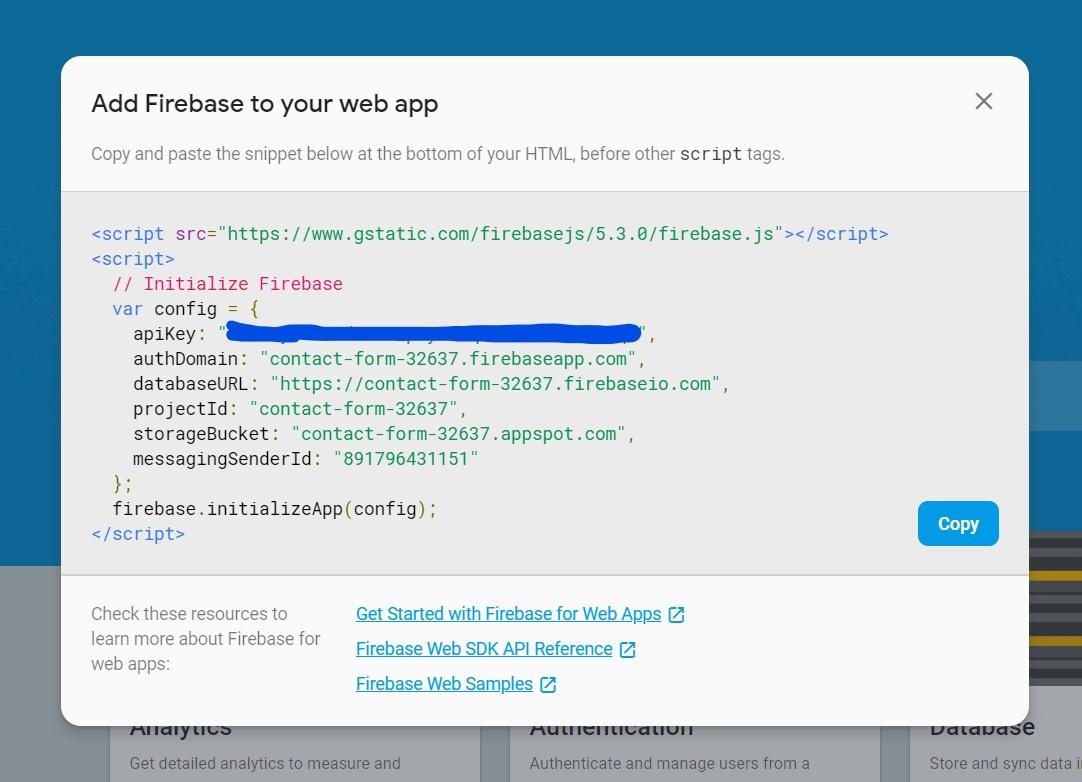 firebase database api key example